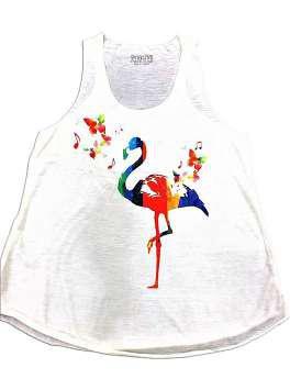 Flamenco mariposas blanca